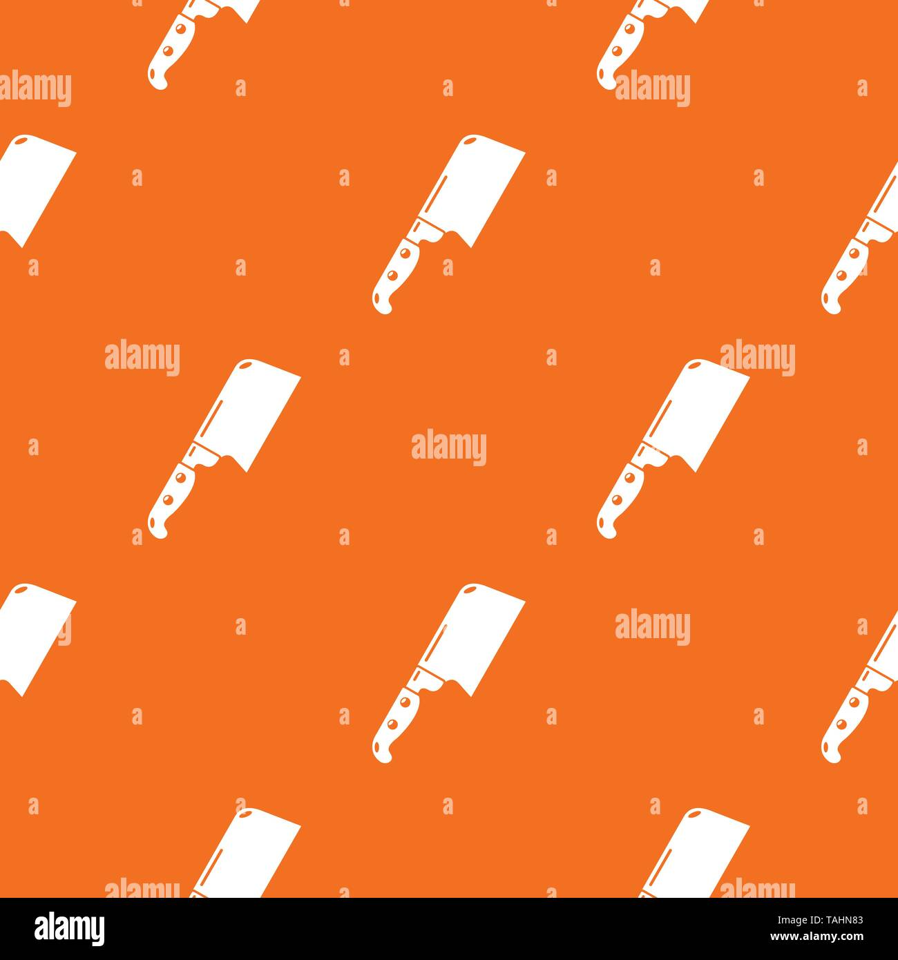 Knife meat pattern vector orange - Stock Image