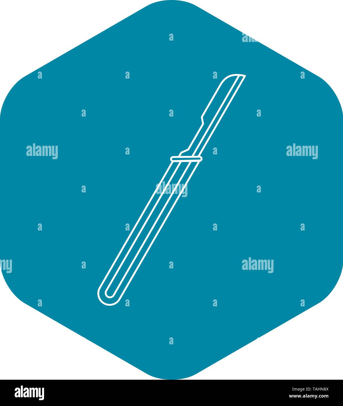 Disposable scalpel icon, outline style - Stock Image