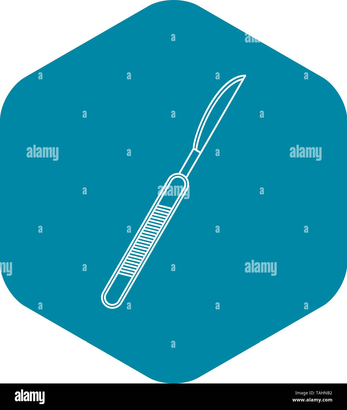 Stainless medical scalpel icon, outline style - Stock Image