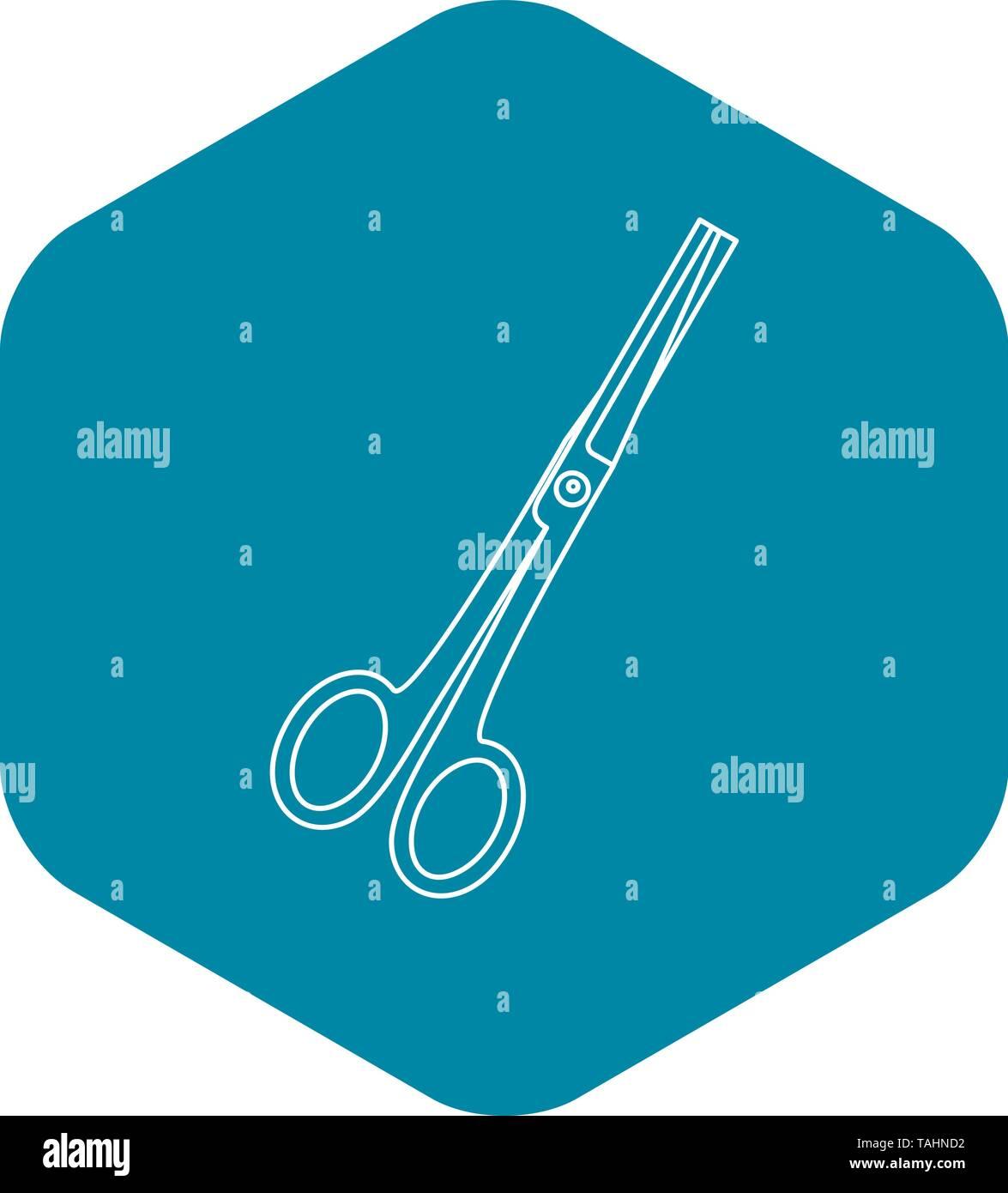 Scissors icon, outline style - Stock Image