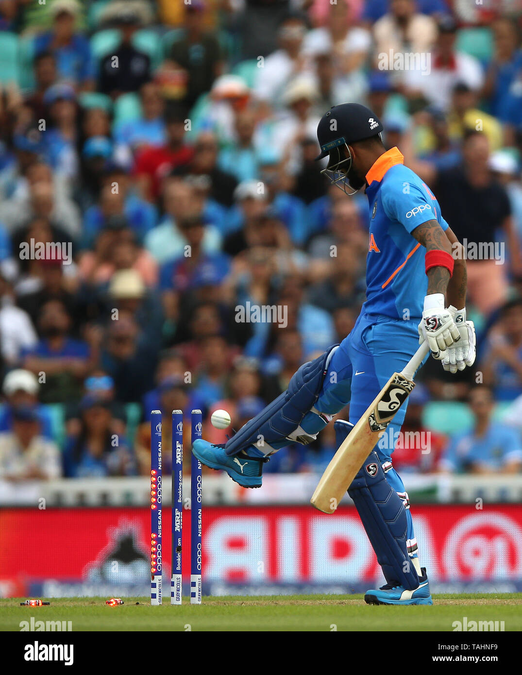 India's KL Rahul is bowled by New Zealand's Trent Boult during the ICC Cricket World Cup Warm up match at The Oval, London. - Stock Image