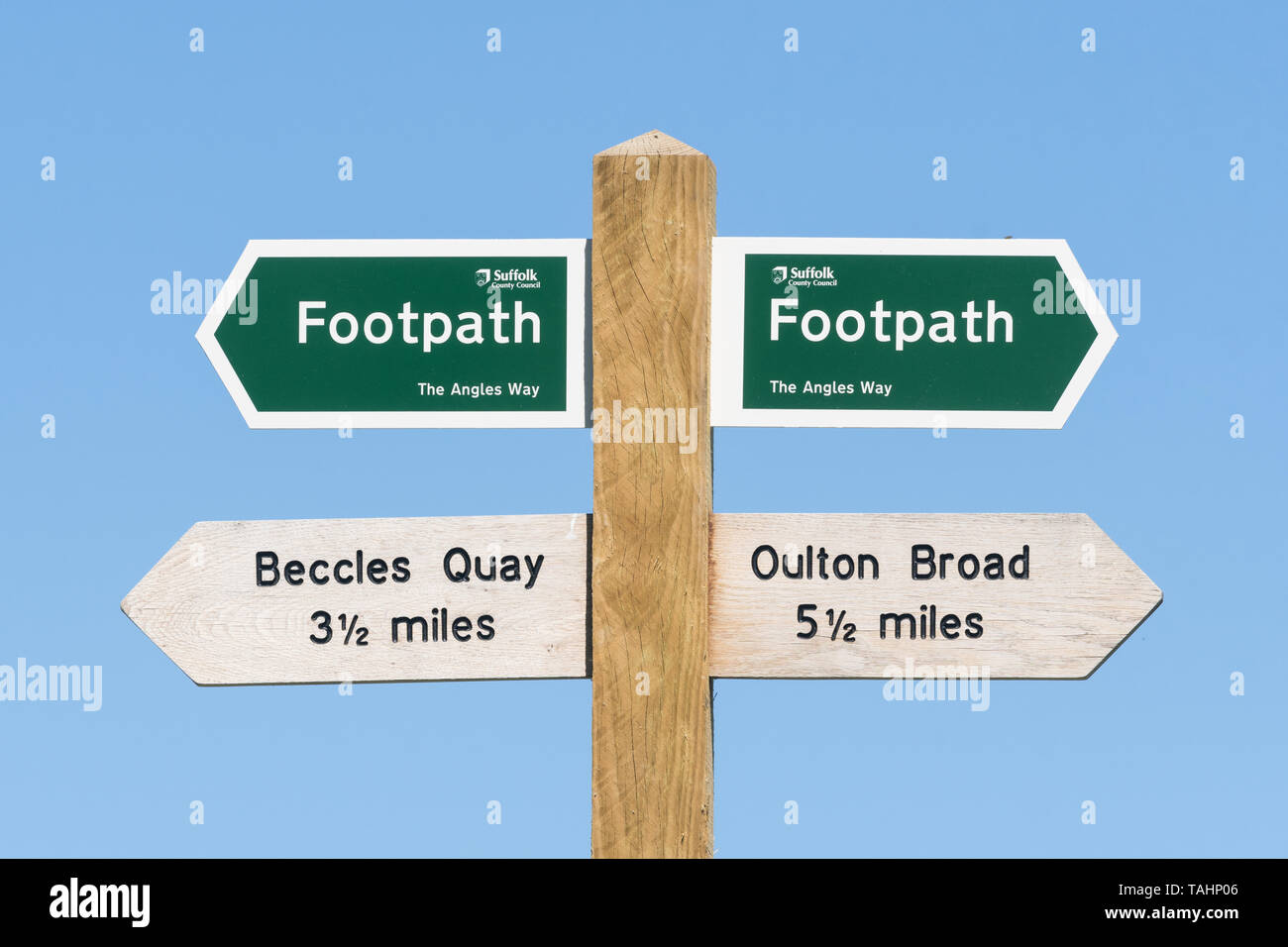Angles Way long distance footpath marker sign Stock Photo