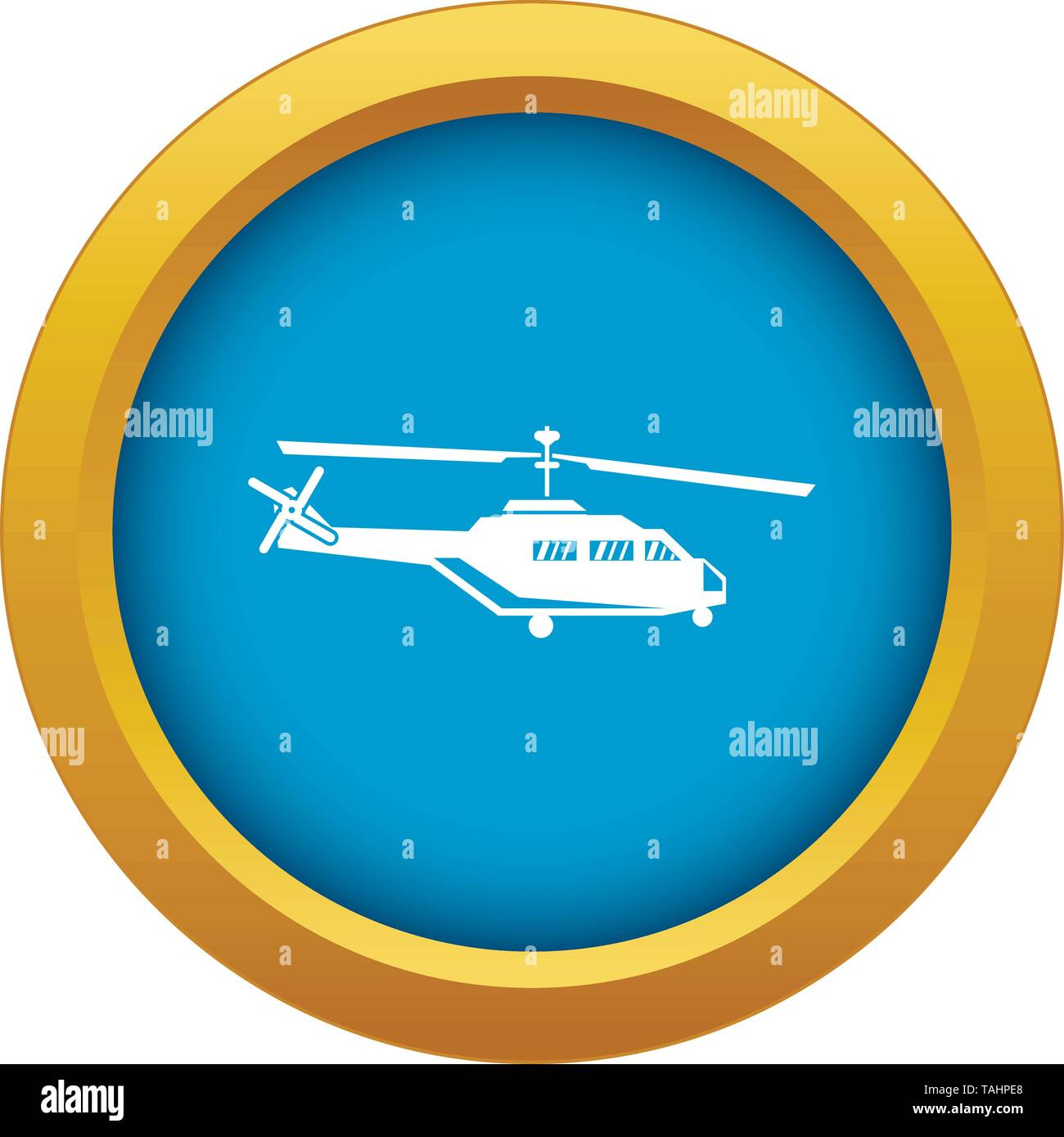 Military helicopter icon blue vector isolated - Stock Image