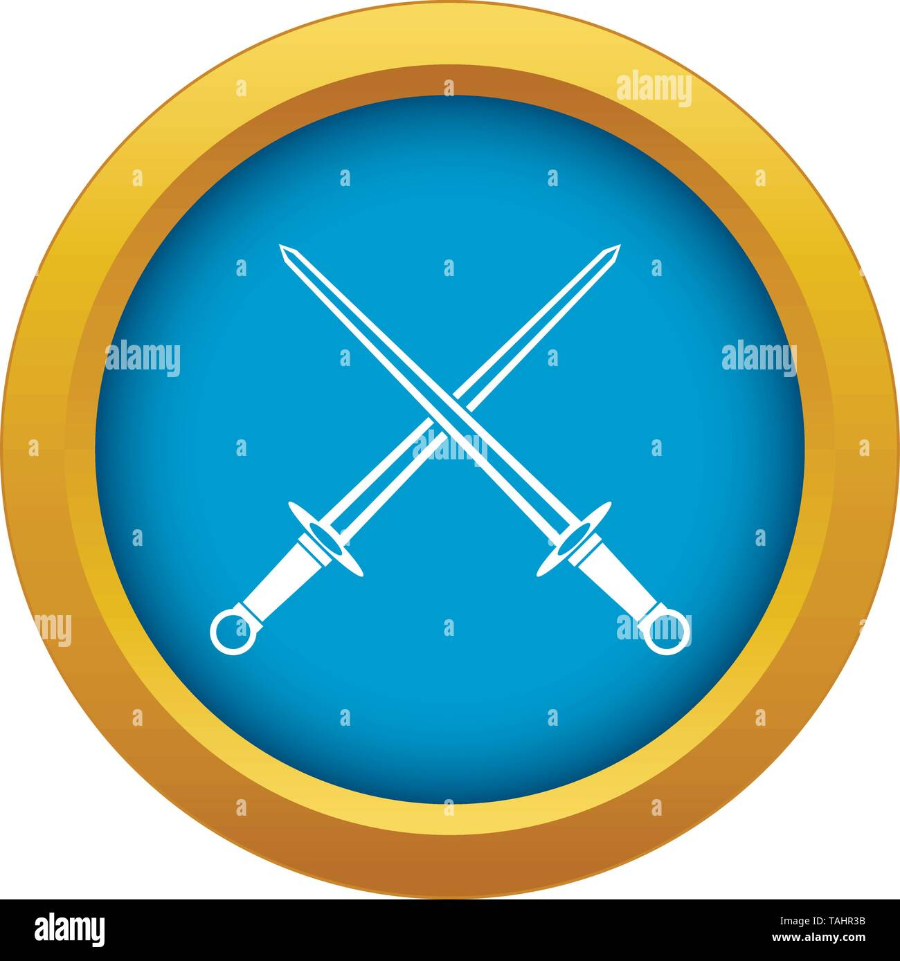 Swords icon blue vector isolated - Stock Image