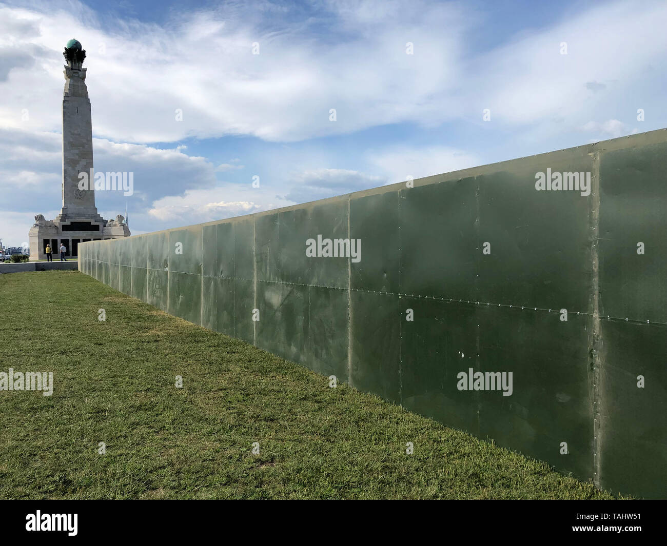 Security fencing put up next to Portsmouth Naval Memorial on Southsea Common ahead of visit by US President Donald Trump for the 75th anniversary of D-Day. Stock Photo