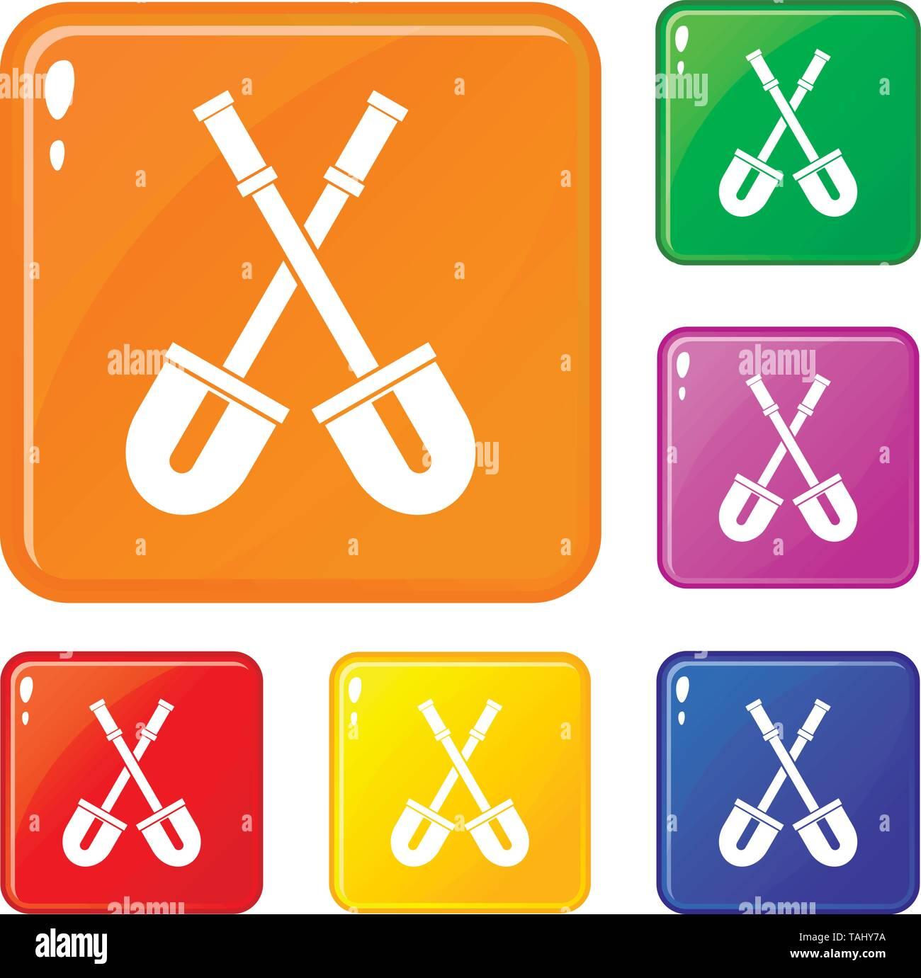 Shovels icons set vector color - Stock Image