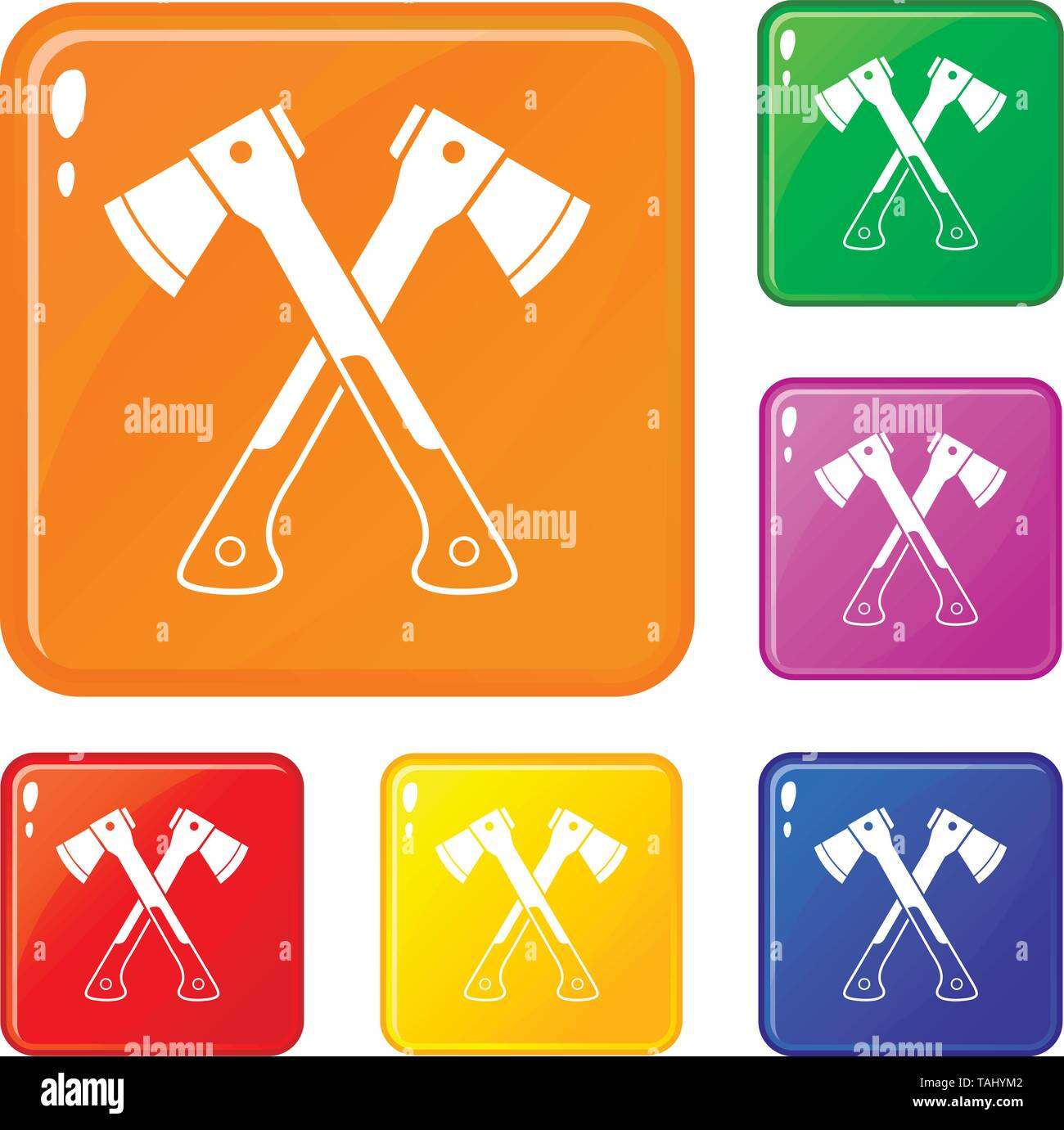 Crossed axes icons set vector color - Stock Image