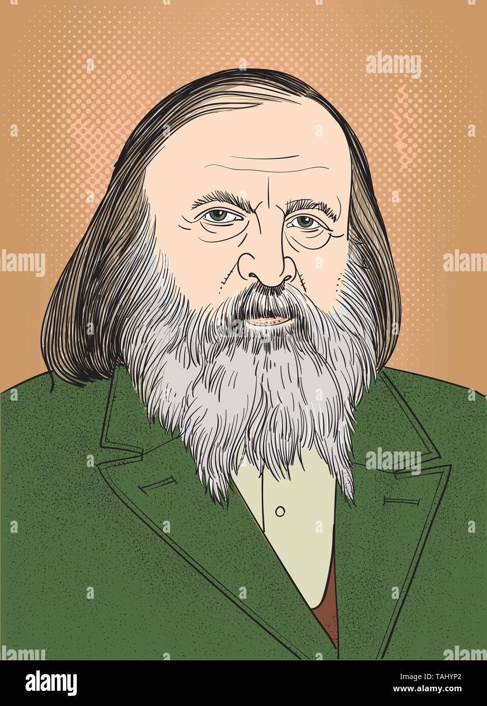 Chemist Dmitri Mendeleev drawing portrait, vector. - Stock Vector