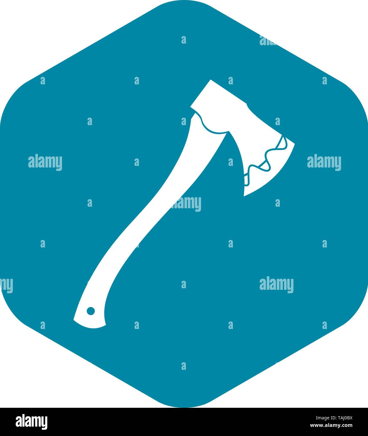 Axe In blood icon, simple style - Stock Image