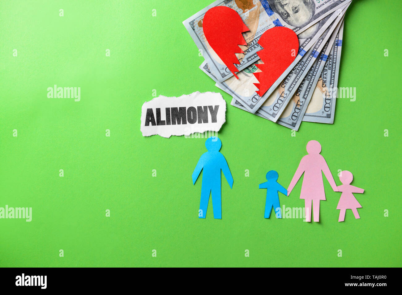 Word ALIMONY with paper figures of family, broken heart and