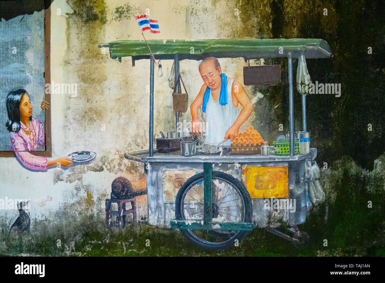 Street Art Painting Of Thai Street Food On A Wall On Phuket Island In Thailand Asia Stock Photo Alamy