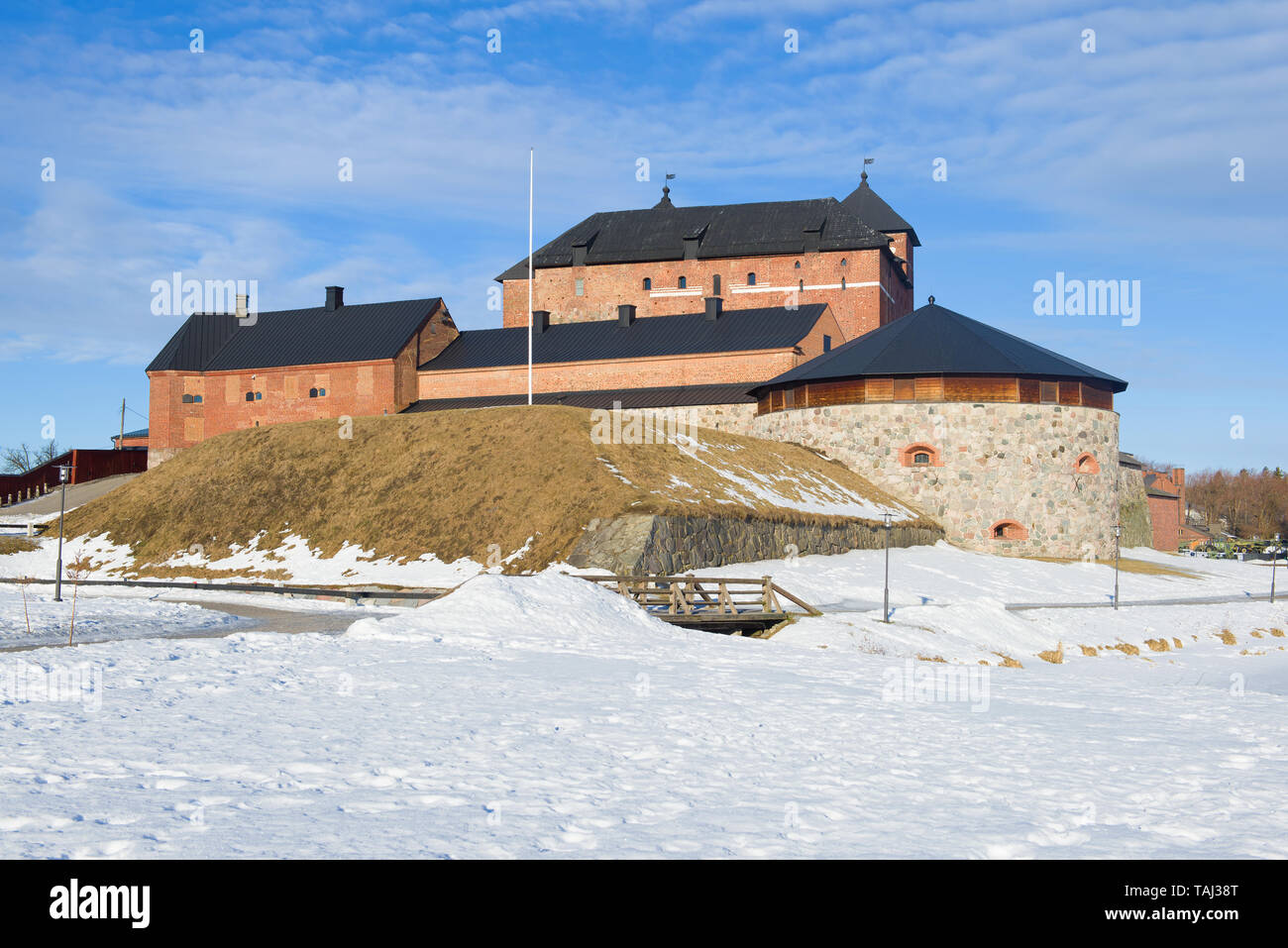 The ancient fortress of Hameenlinna on a sunny March day. Finland Stock Photo