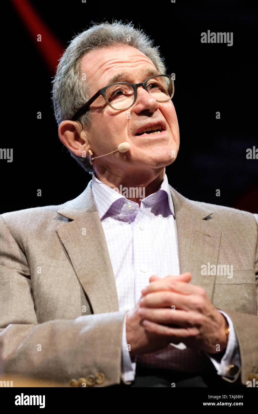 Hay Festival, Hay on Wye, Powys, Wales, UK - Saturday 25th May 2019 - John Browne ( Lord Browne ) former CEO of BP on stage talking about his book Make, Think, Imagine - Engineering and the Future of Civilisation on Day 3 of this years Hay Festival. Photo Steven May / Alamy Live News - Stock Image