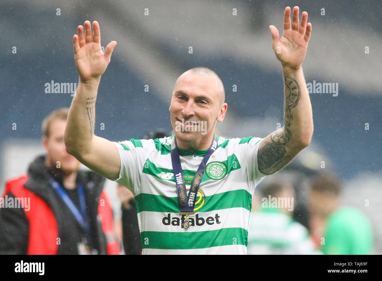 Glasgow, Scotland, May 25th 2019. Scott Brown of Celtic after the William Hill Scottish Cup final between Celtic and Hearts at Hampden Park on May 25th 2019 in Glasgow, Scotland. Editorial use only, licence required for commercial use. No use in Betting, games or a single club/league/player publication. Credit: Scottish Borders Media/Alamy Live News Stock Photo