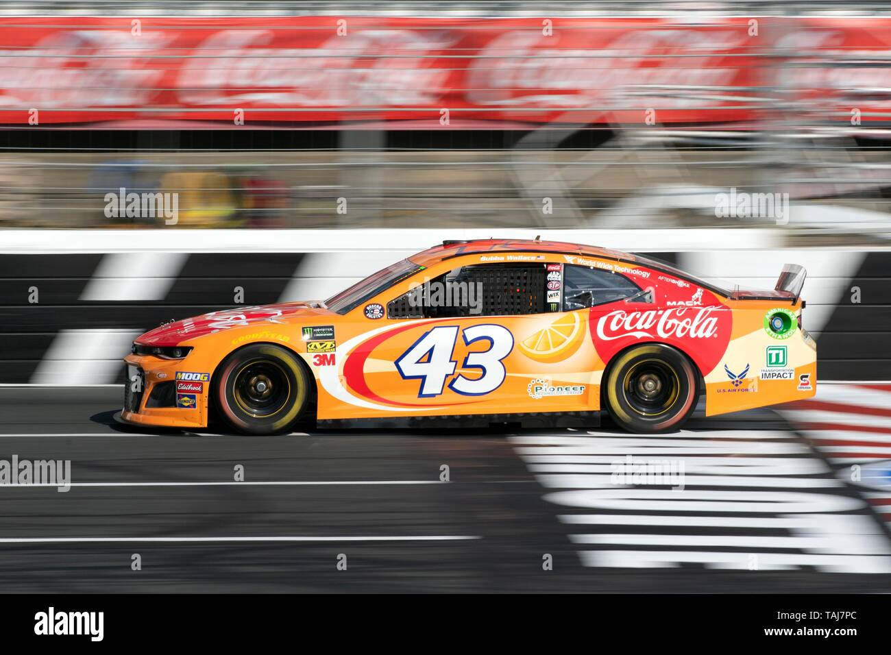 NASCAR driver Bubba Wallace driving #43 in qualifiers for the Coca Cola 600 at Charlotte Motor Speedway May 25, 2019 in Concord, N.C. Credit: Planetpix/Alamy Live News - Stock Image