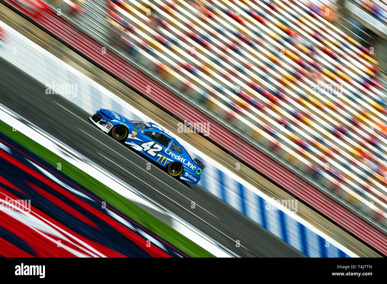 NASCAR driver Kyle Larson warms up for the Coca Cola 600 at Charlotte Motor Speedway May 25, 2019 in Concord, N.C. Larson will be driving in honor of Marine Sgt. Jeanette Lee Winters, who died on active duty, and her name will be on the windshield of his car. Credit: Planetpix/Alamy Live News - Stock Image