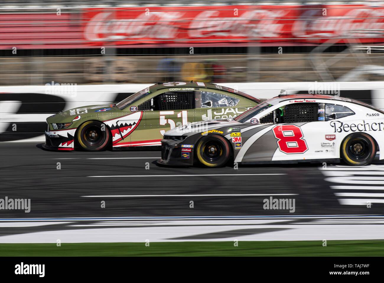 NASCAR driver Cody War driving #51 edges out Daniel Hemric, #8 in qualifying for the Coca Cola 600 at Charlotte Motor Speedway May 25, 2019 in Concord, N.C. Credit: Planetpix/Alamy Live News - Stock Image