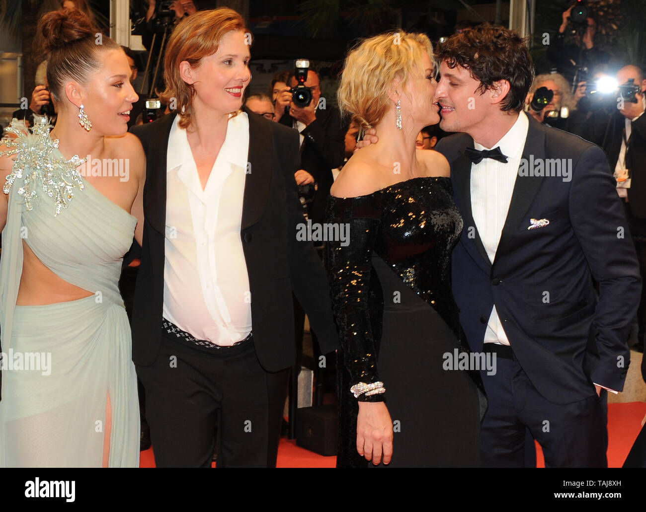 Cannes France 24th May 2019 Justine Triet L R Adele Exarchopoulos Virginie Efira And Niels Schneider Attend The Screening Of Sibyl During The 72nd Annual Cannes Film Festival At Palais Des Festivals