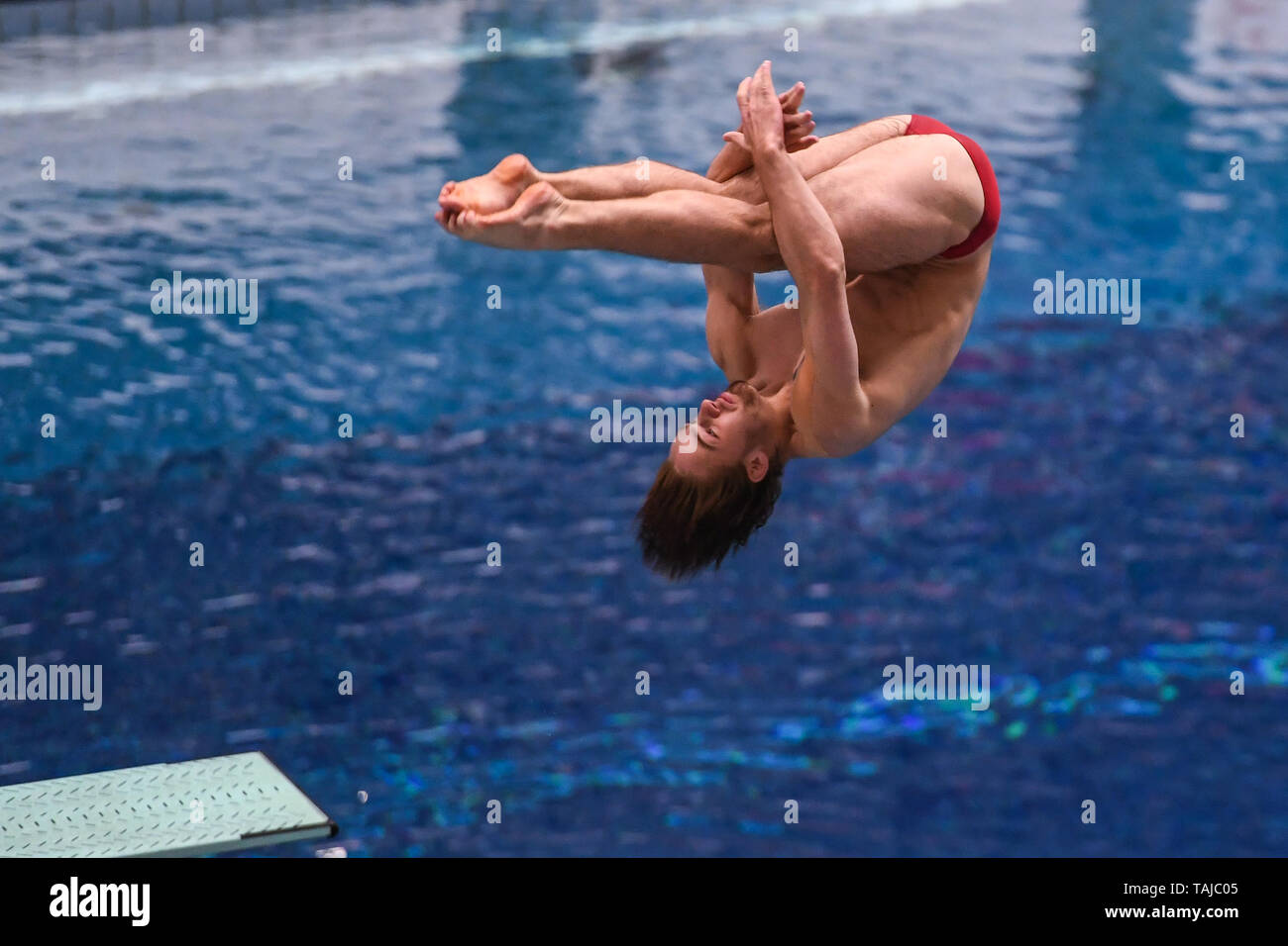 Indianapolis, Indiana, USA. 25th May, 2019. JACOB SILER dives at the University of Indiana Natatorium in Indianapolis, Indiana. Credit: Amy Sanderson/ZUMA Wire/Alamy Live News - Stock Image