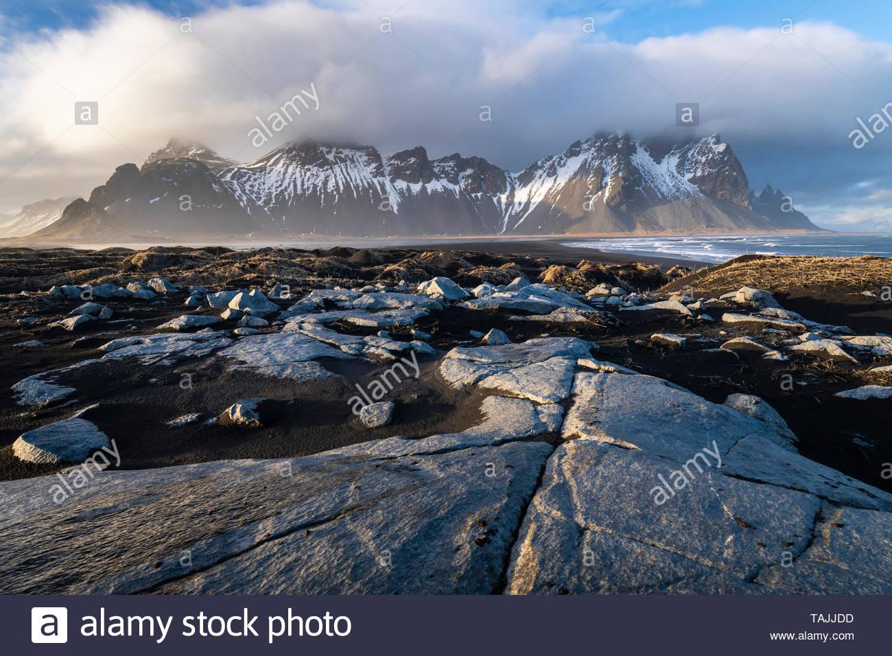 Stokksnes cape and Vestrahorn Mountain during sunset. Eastern Iceland landscape. Stock Photo