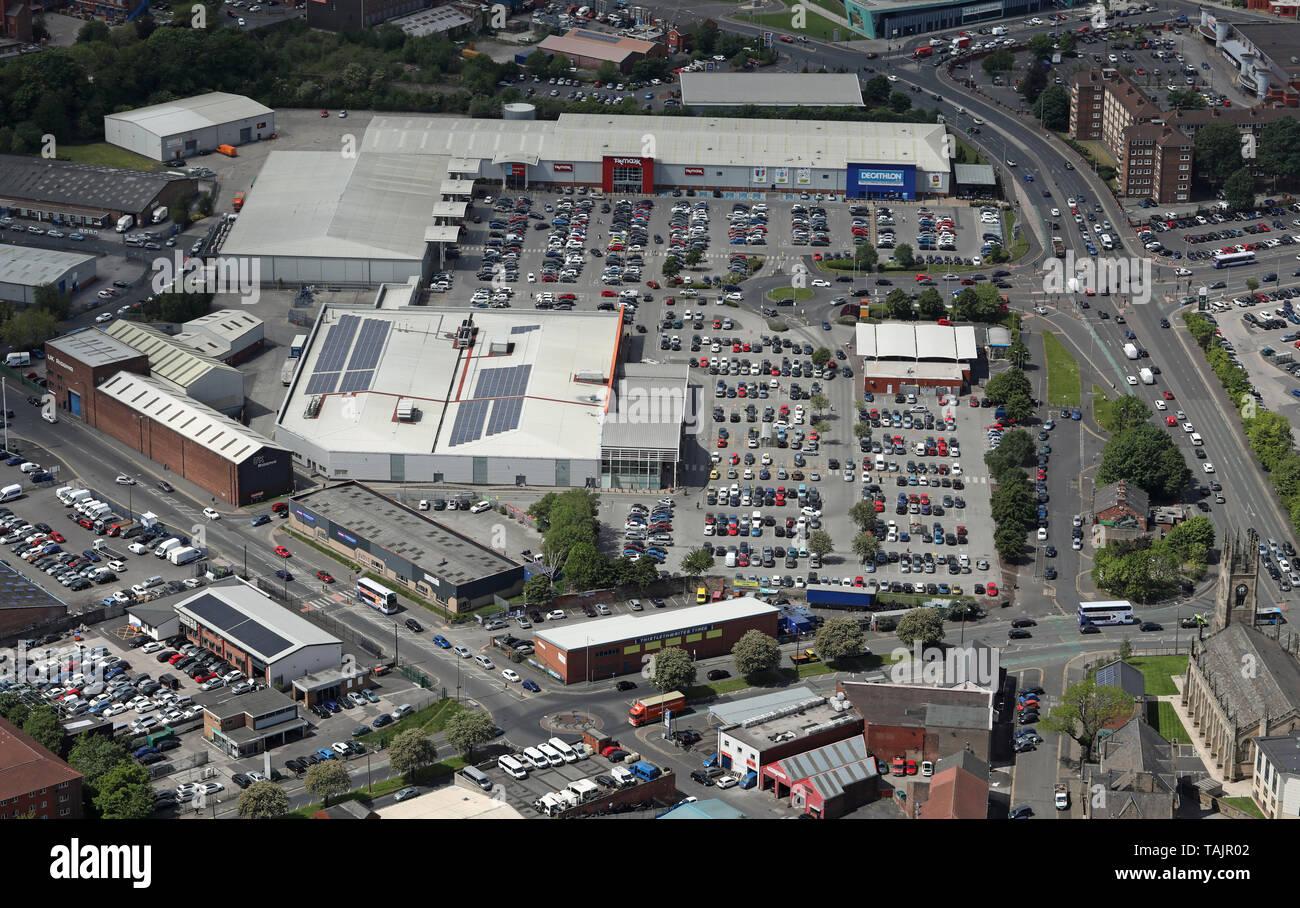 aerial views of Bolton Shopping Park, Bolton, Lancashire - Stock Image