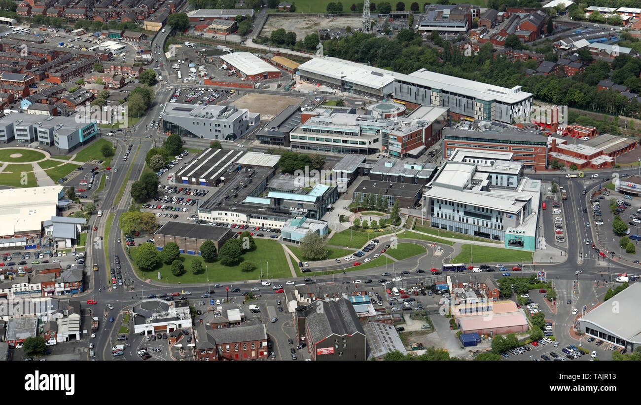 aerial views of Bolton College Deane Road Campus, Bolton, Lancashire, UK - Stock Image