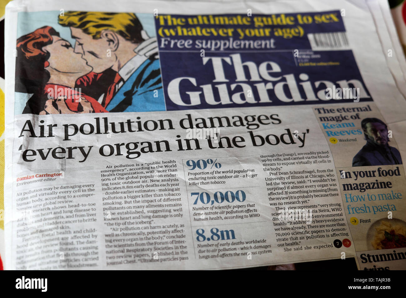 'Air pollution damages every organ in the body' Guardian newspaper front page health headline headlines on 18 May 2019  London England Britain UK GB Great Britain Europe EU - Stock Image