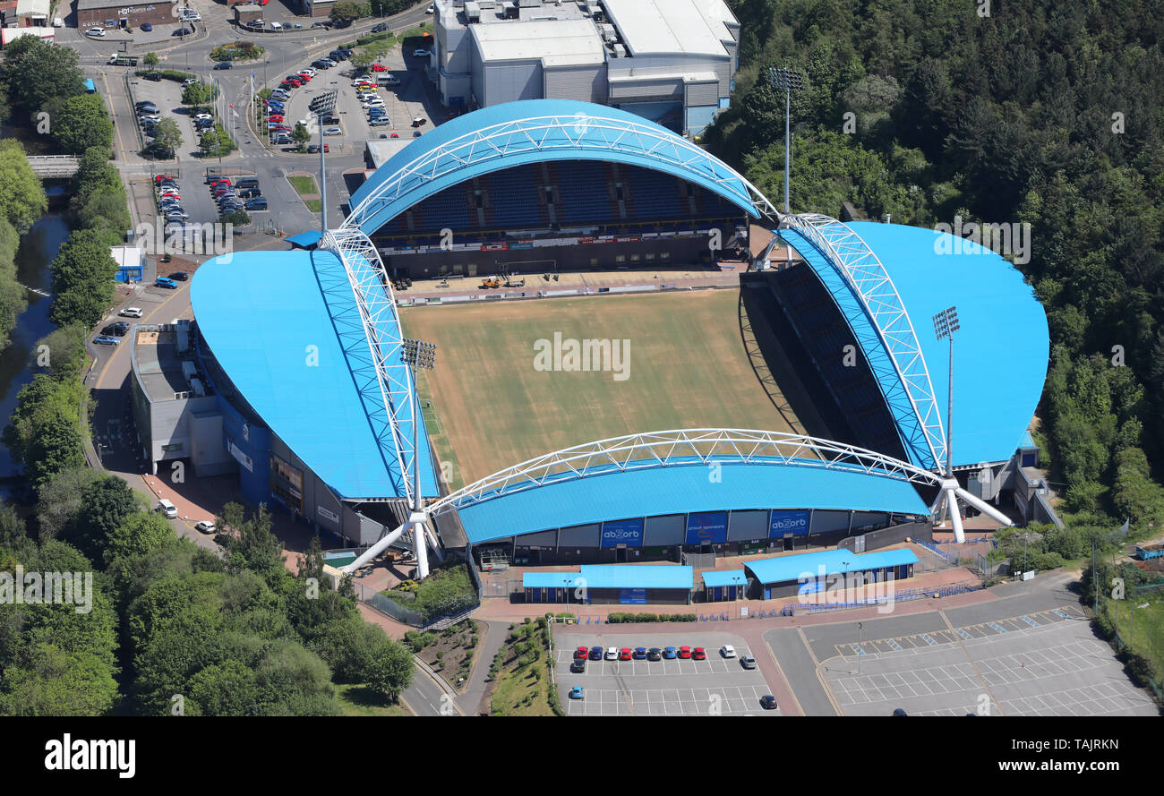 aerial view of The John Smith's Stadium, home of Huddersfield Town FC, West Yorkshire, UK - Stock Image