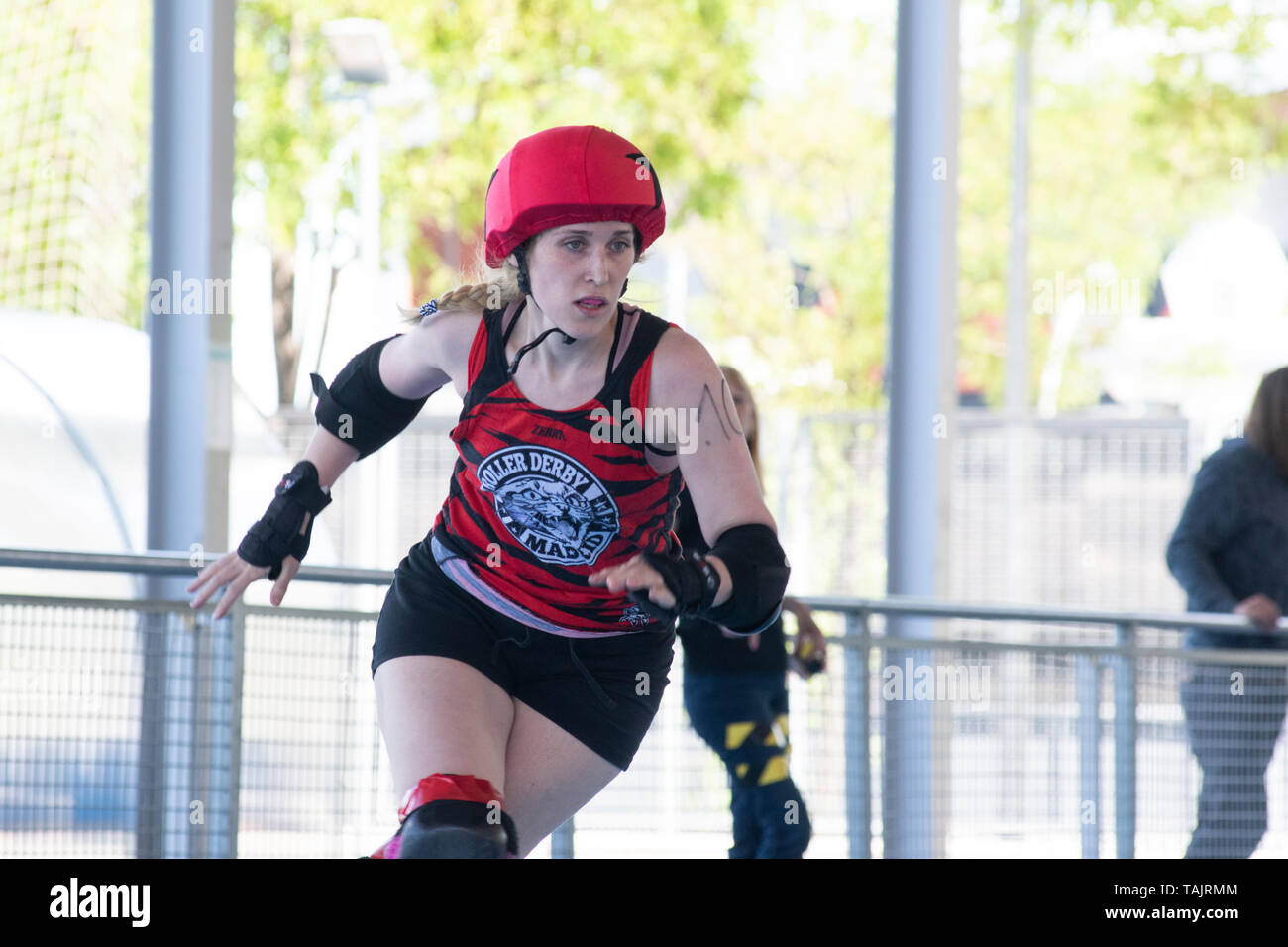 Madrid, Spain. 25th May, 2019. Jammer of Roller Dreby Madrid, #10 Feminatrix, during the game against Frankensteam. - Stock Image