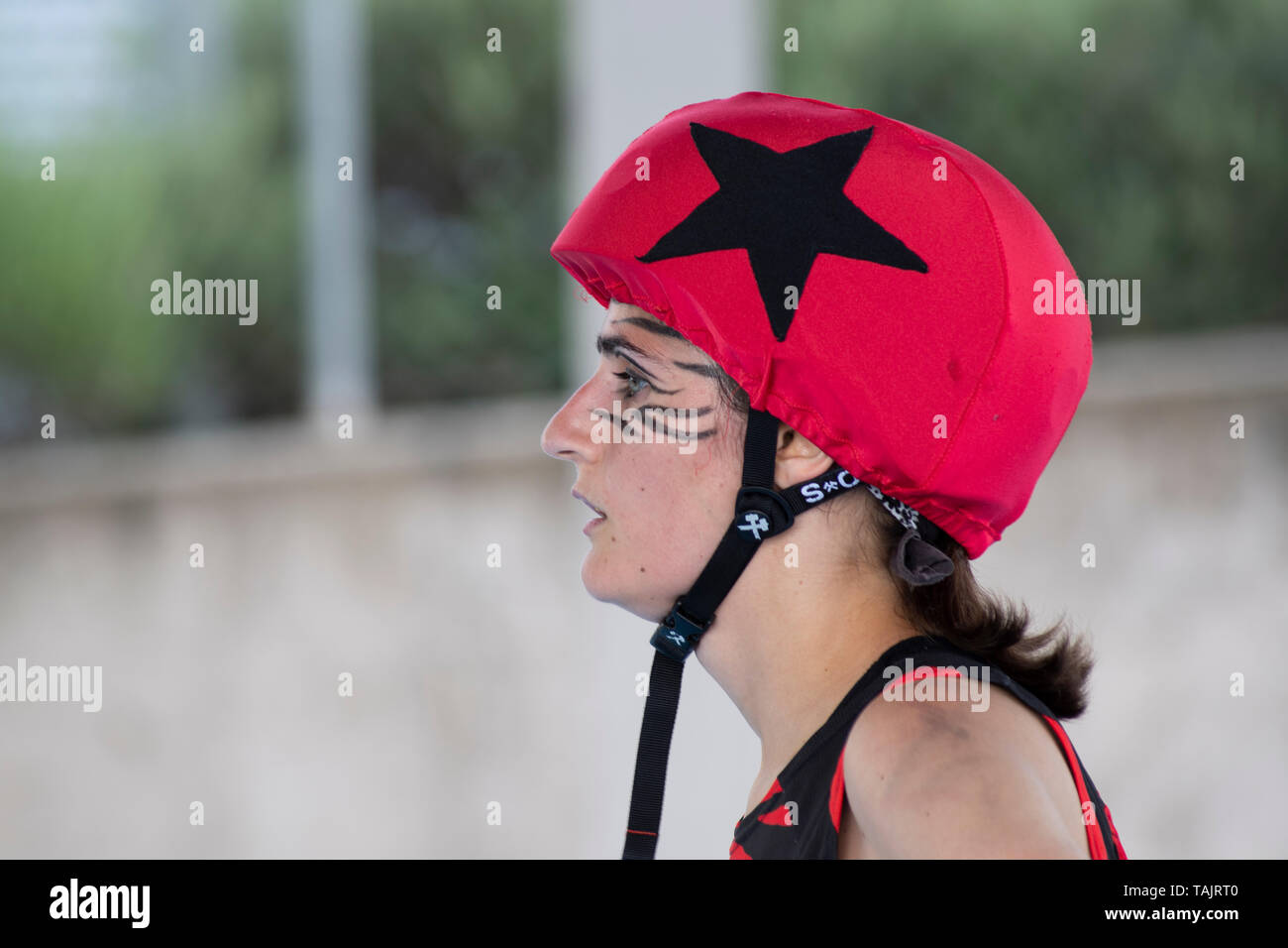 Madrid, Spain. 25th May, 2019. Jammer of Roller Derby Madrid B during the game against Frankensteam. - Stock Image