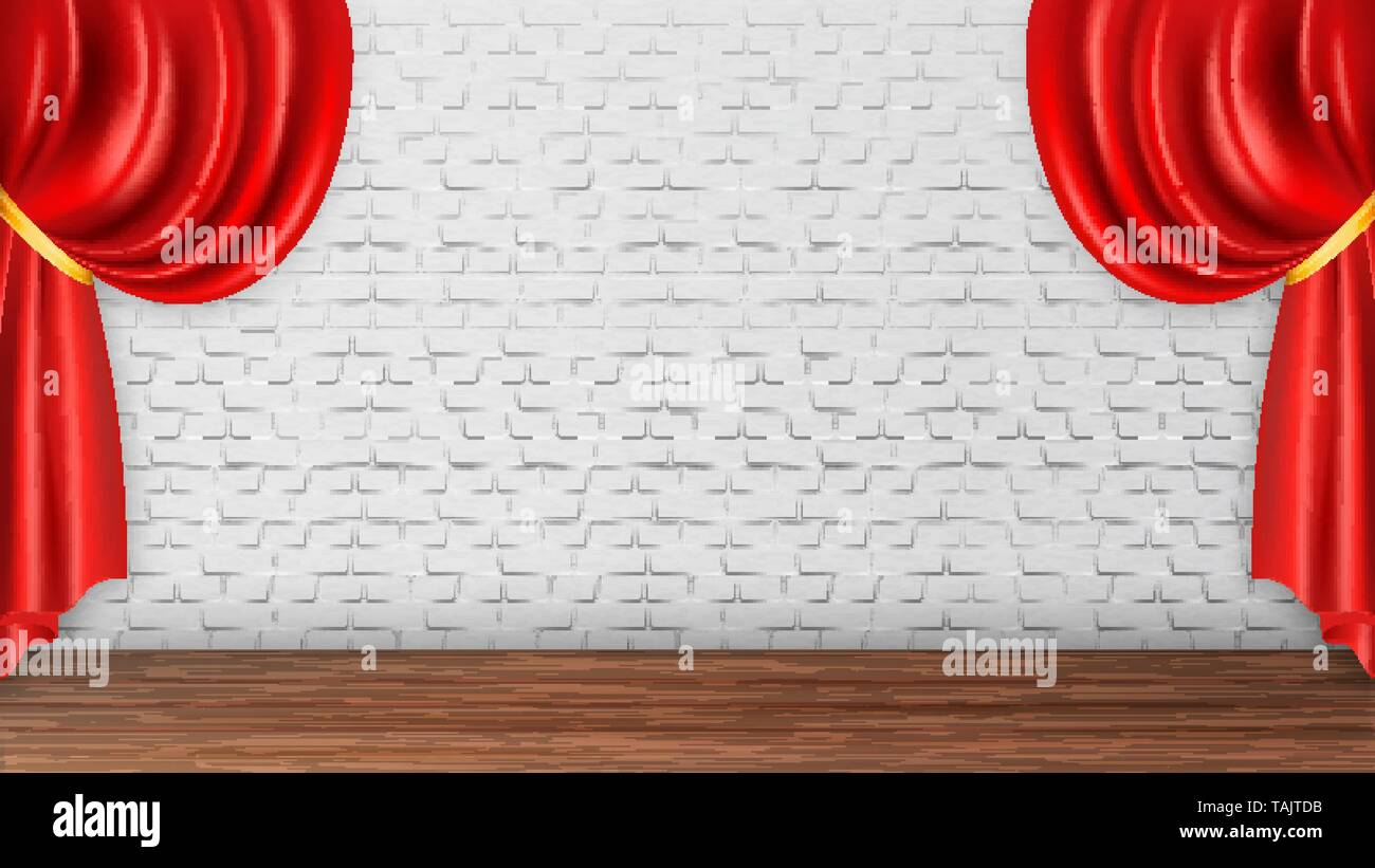 Red Curtains On White Brick Wall Background Vector - Stock Image