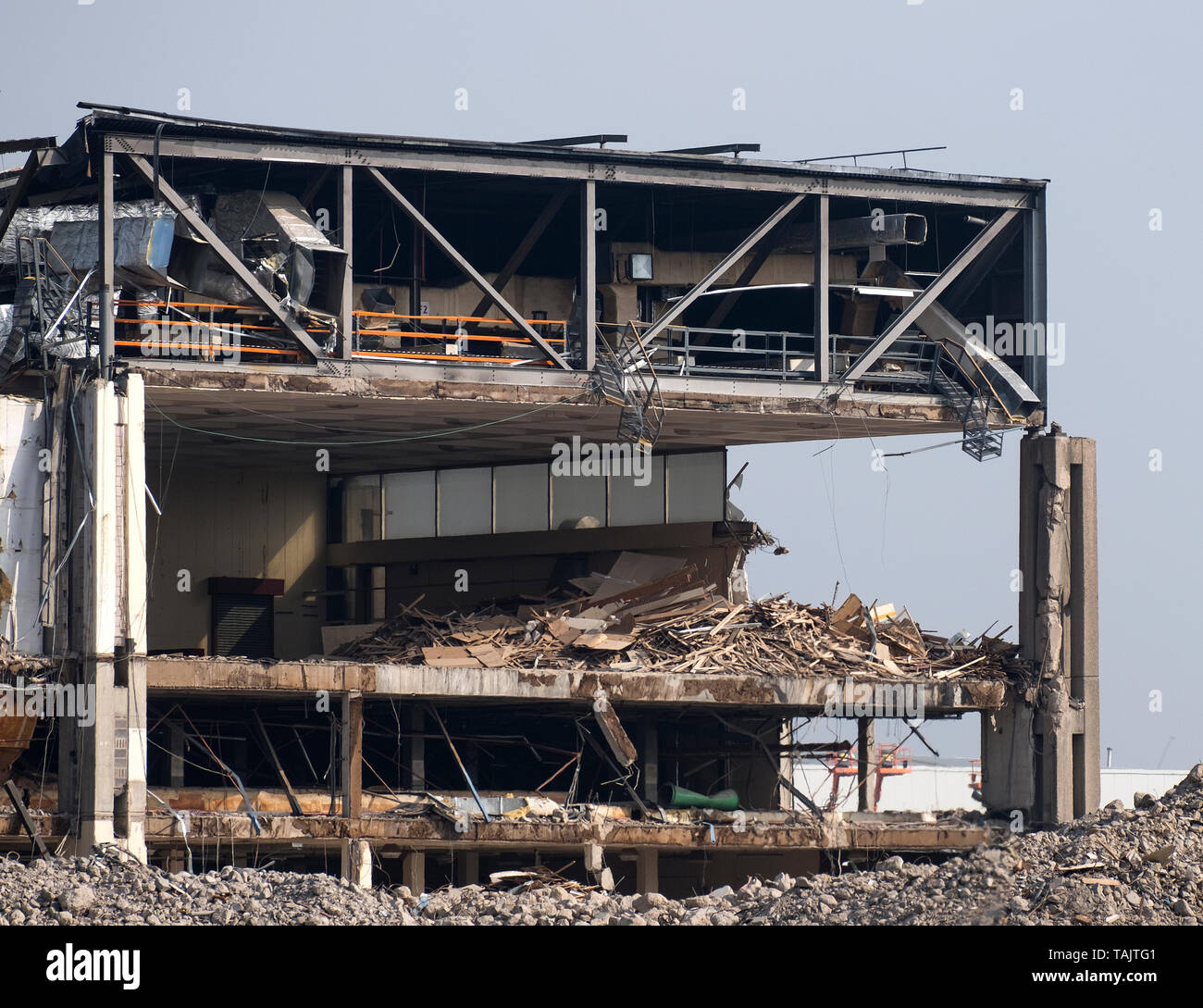 Factory structure exposed during demolition Stock Photo