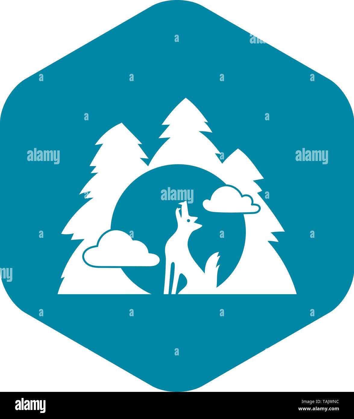 Wolf forest howl icon, simple style - Stock Image