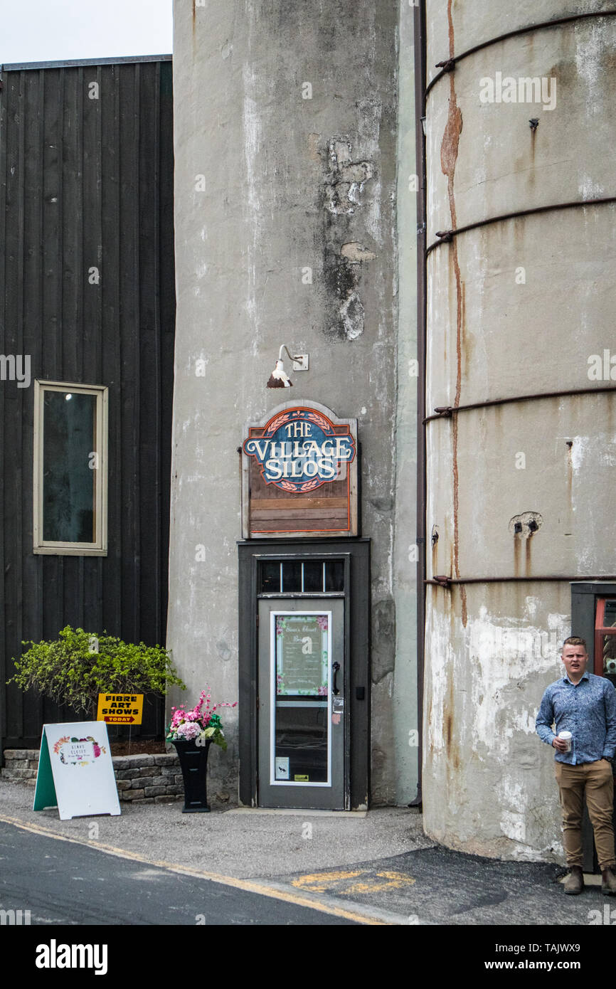 A view of the entrance at The Village Silos, St. Jacobs, Ontario, Canada. - Stock Image