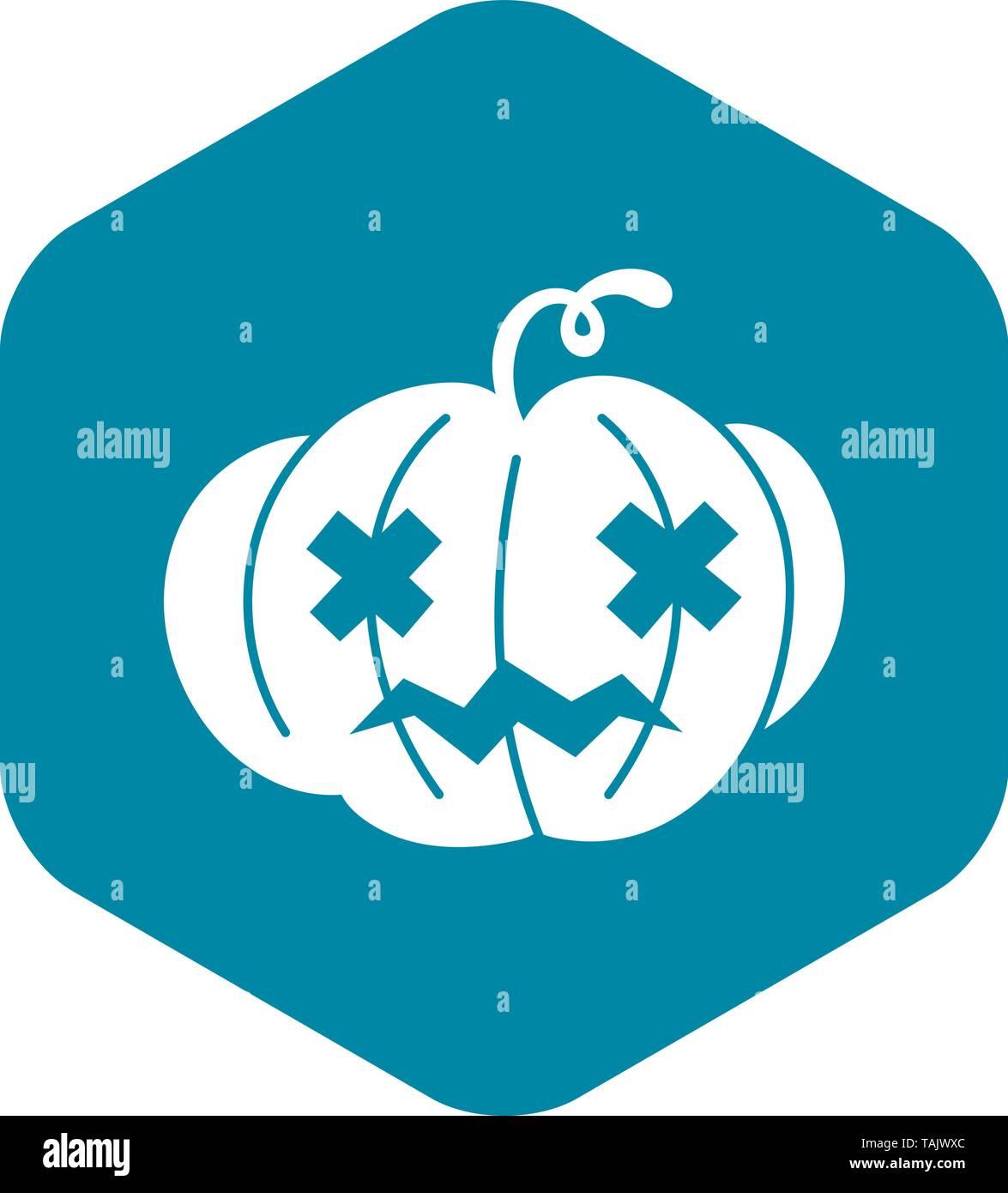 Halloween pumpkin icon, simple style - Stock Image