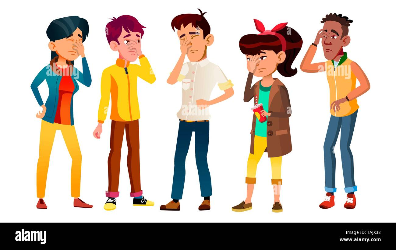 Ashamed Teenagers With Gesture Facepalm Set Vector - Stock Image