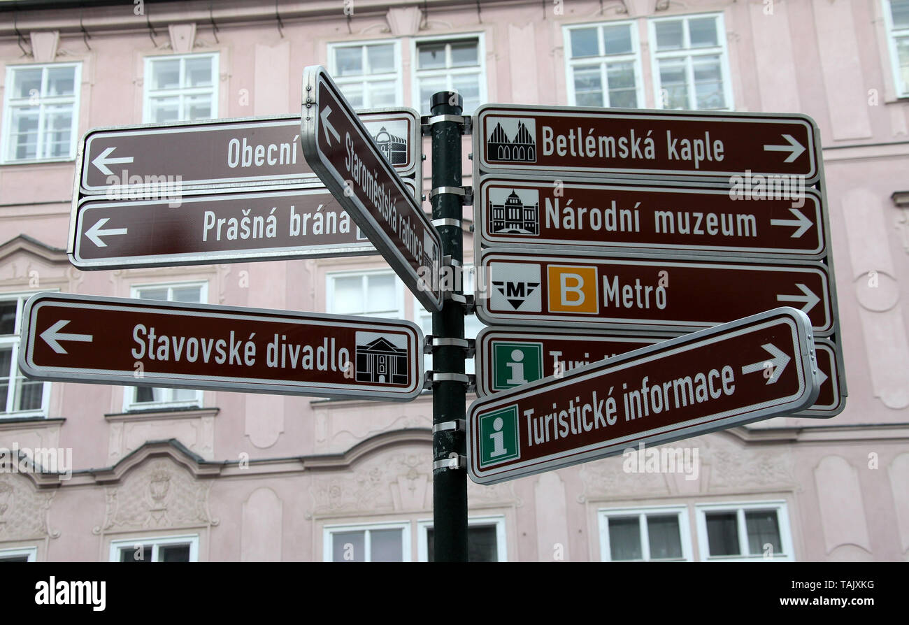 Tourist information sign in the city centre of Prague - Stock Image