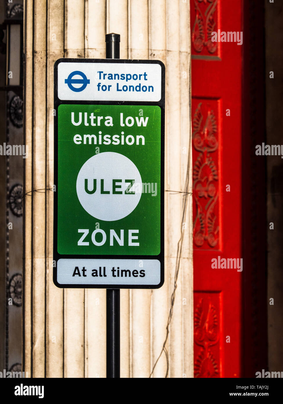 ULEZ Ultra Low Emission Zone Sign London - Signs for the new Ultra Low Emission Zone in central London implemented by Transport for London TFL in 2019 - Stock Image