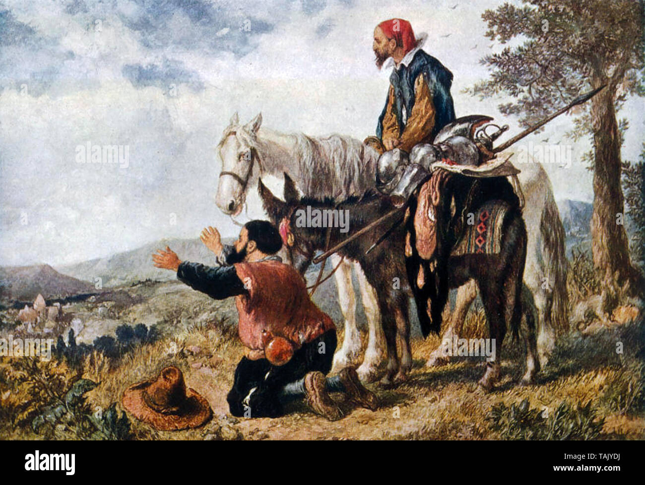 DON QUIXOTE and Sancho Panza return home in a scene from Cervantes 17th century novel - Stock Image