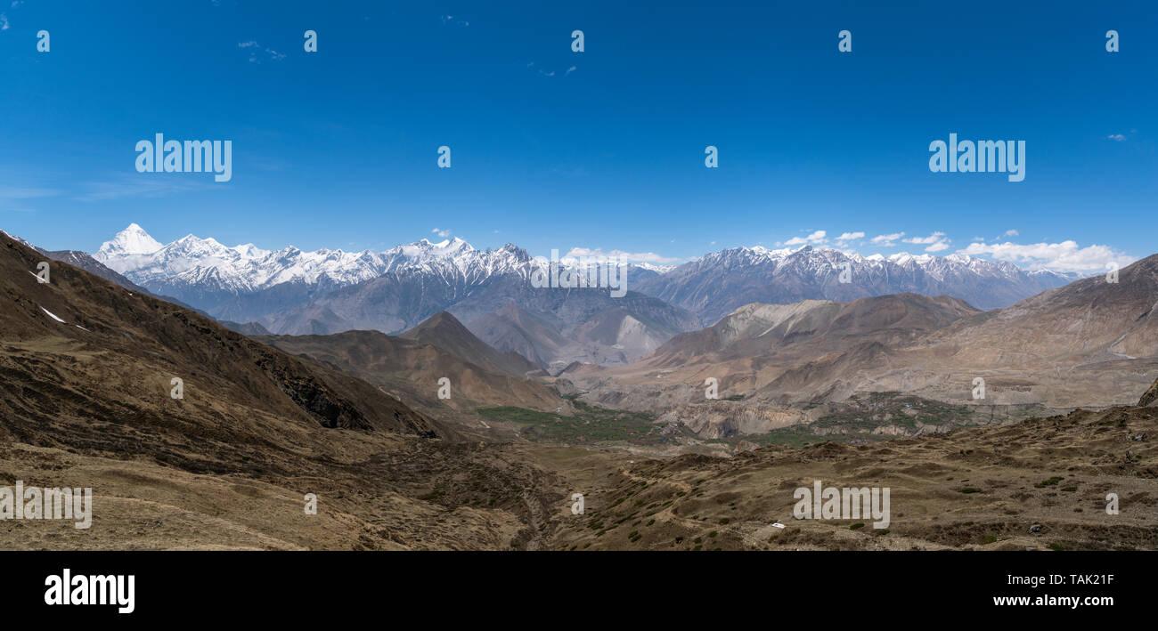 Himalaya, Dhaulagiri Himal viewed from Muktinath, Nepal - Stock Image
