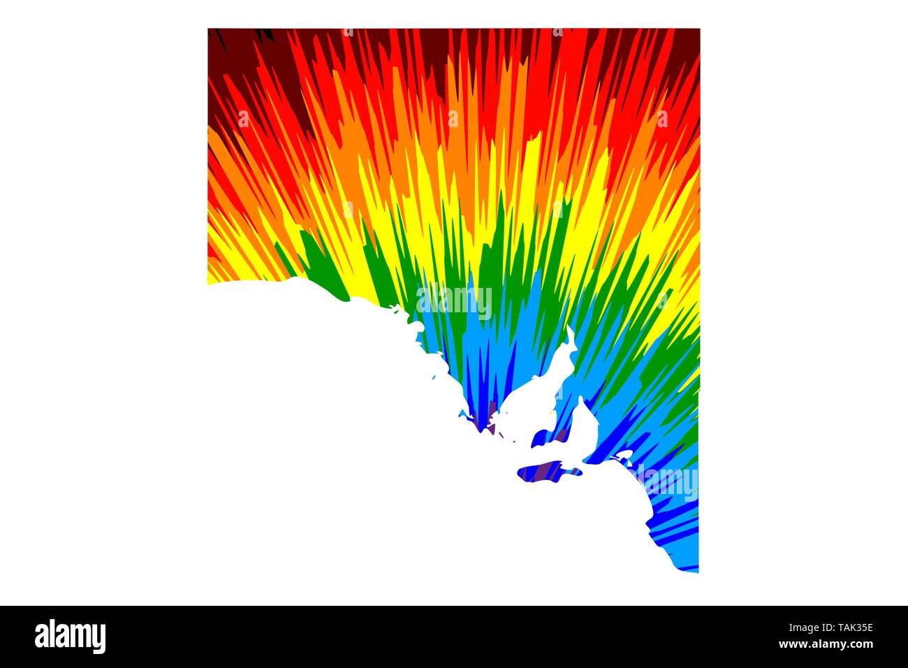 South Australia (Australian states and territories, SA) map is designed rainbow abstract colorful pattern, South Australia map made of color explosion - Stock Vector