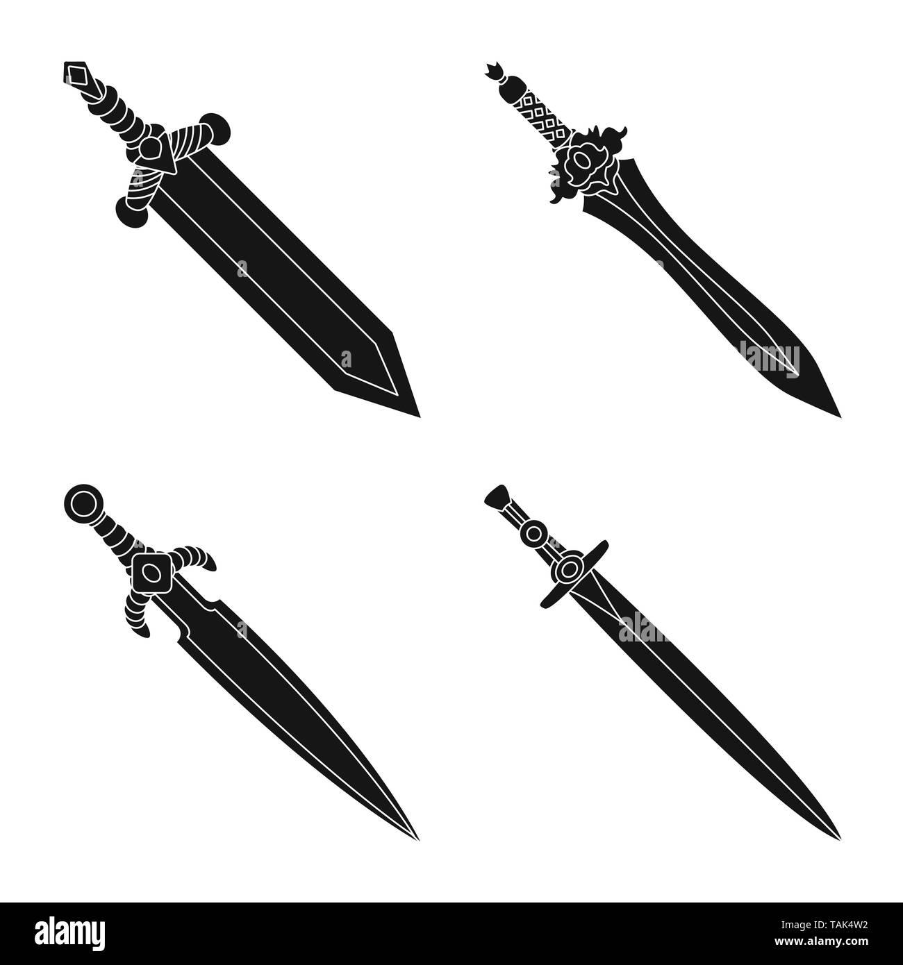 Vector illustration of sharp and blade  logo. Set of sharp and dagger  vector icon for stock. - Stock Image