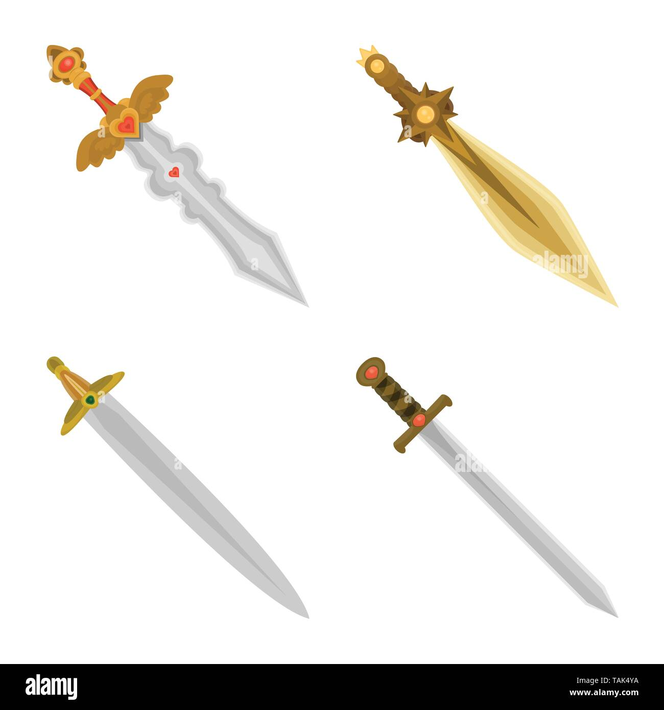 Isolated object of sword  and dagger  icon. Collection of sword  and weapon stock symbol for web. - Stock Image
