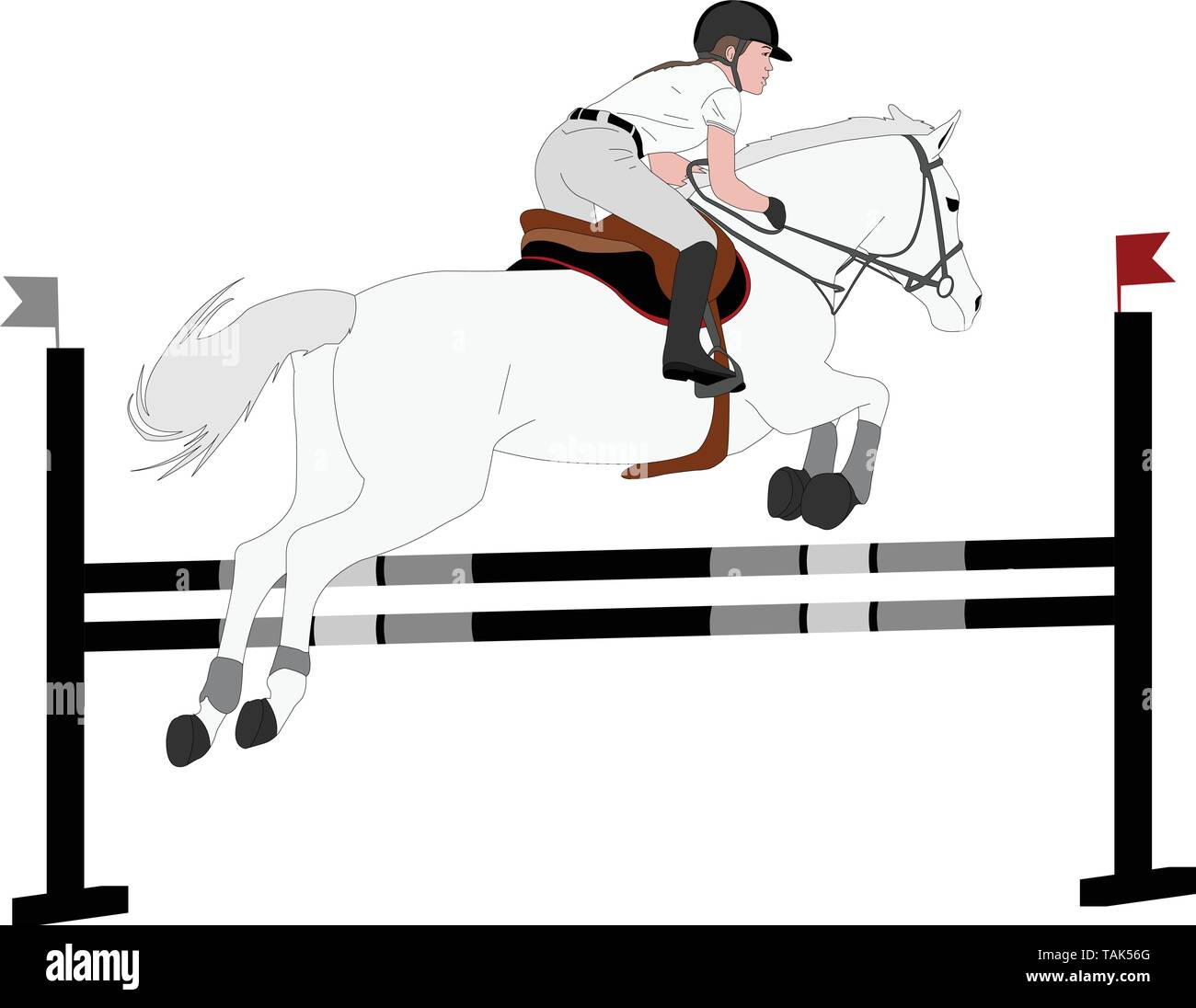 jumping show. horse with jockey jumping a hurdle color illustration - vector - Stock Vector