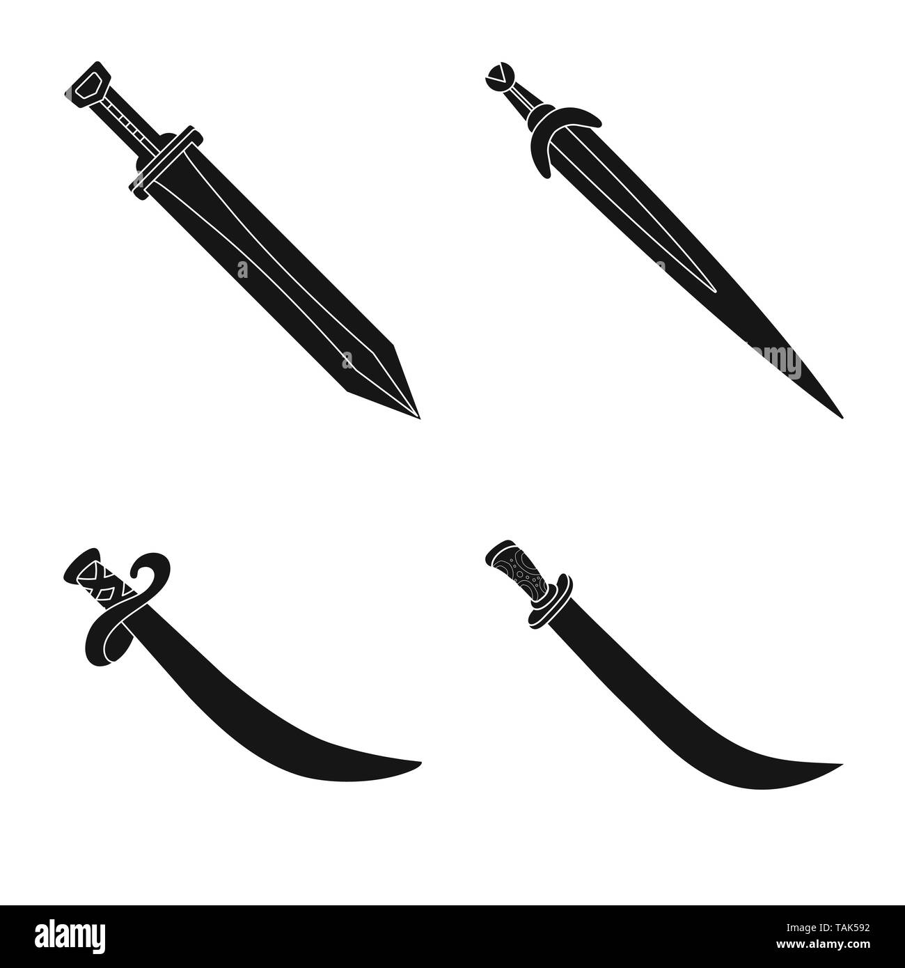 Isolated object of sharp and blade  symbol. Set of sharp and dagger  stock vector illustration. - Stock Image