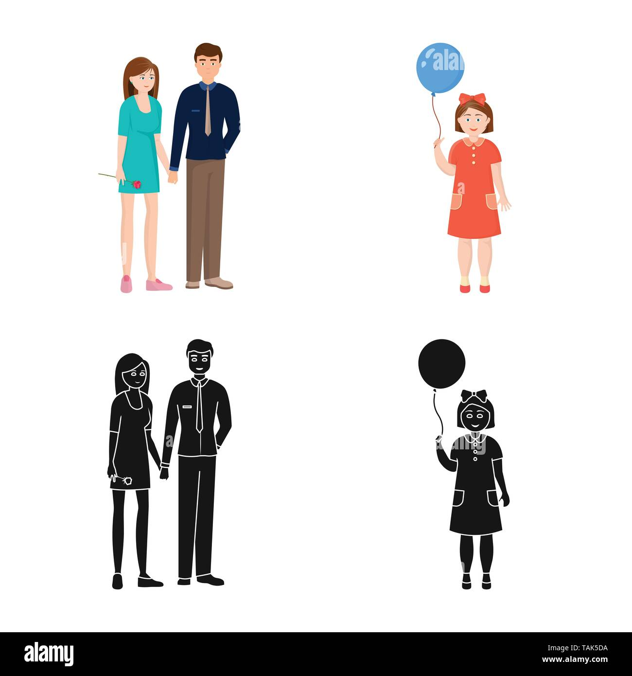Vector illustration of character and avatar  symbol. Collection of character and portrait vector icon for stock. - Stock Image
