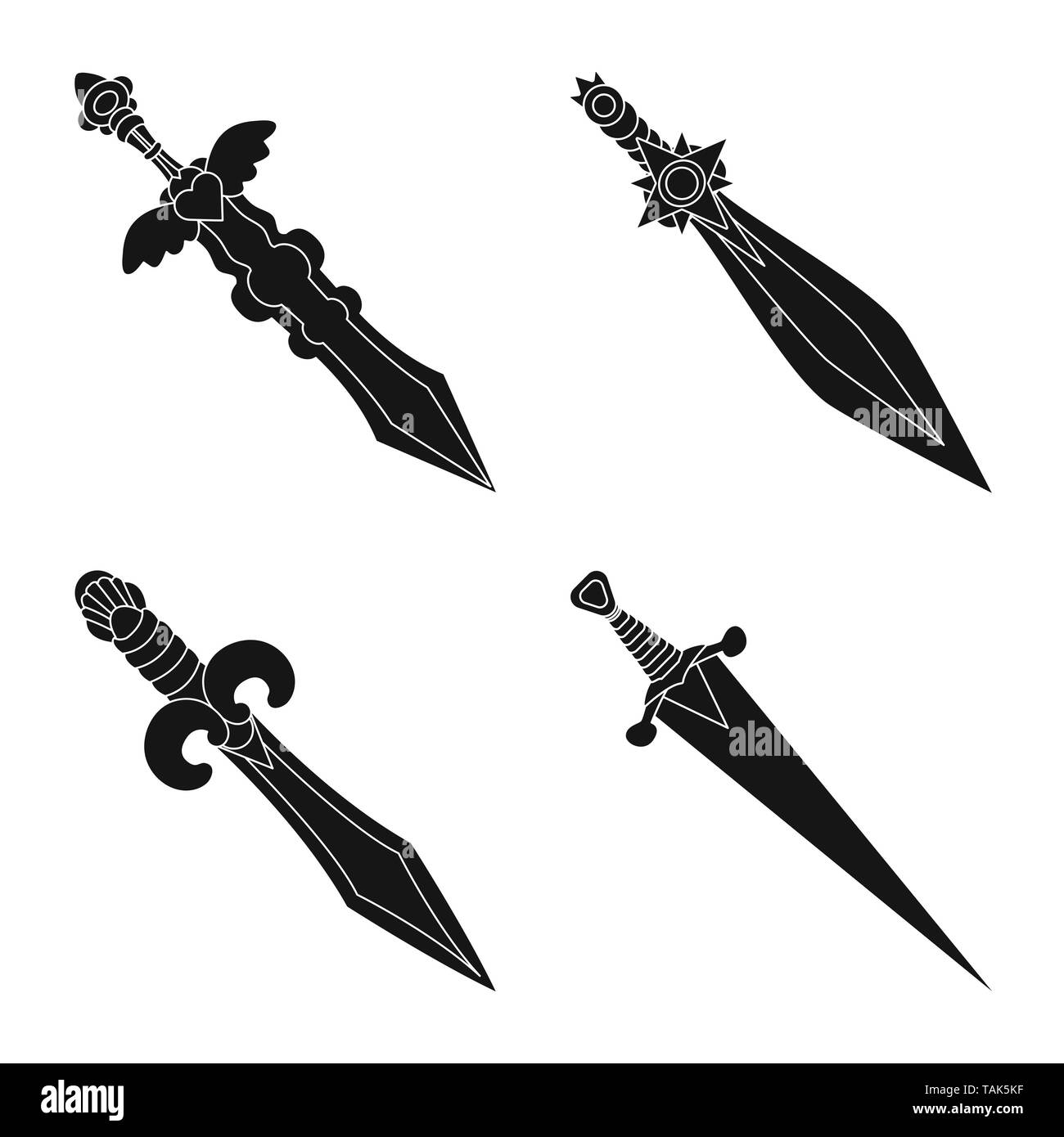 Vector illustration of sharp and blade  sign. Collection of sharp and dagger  stock vector illustration. - Stock Image
