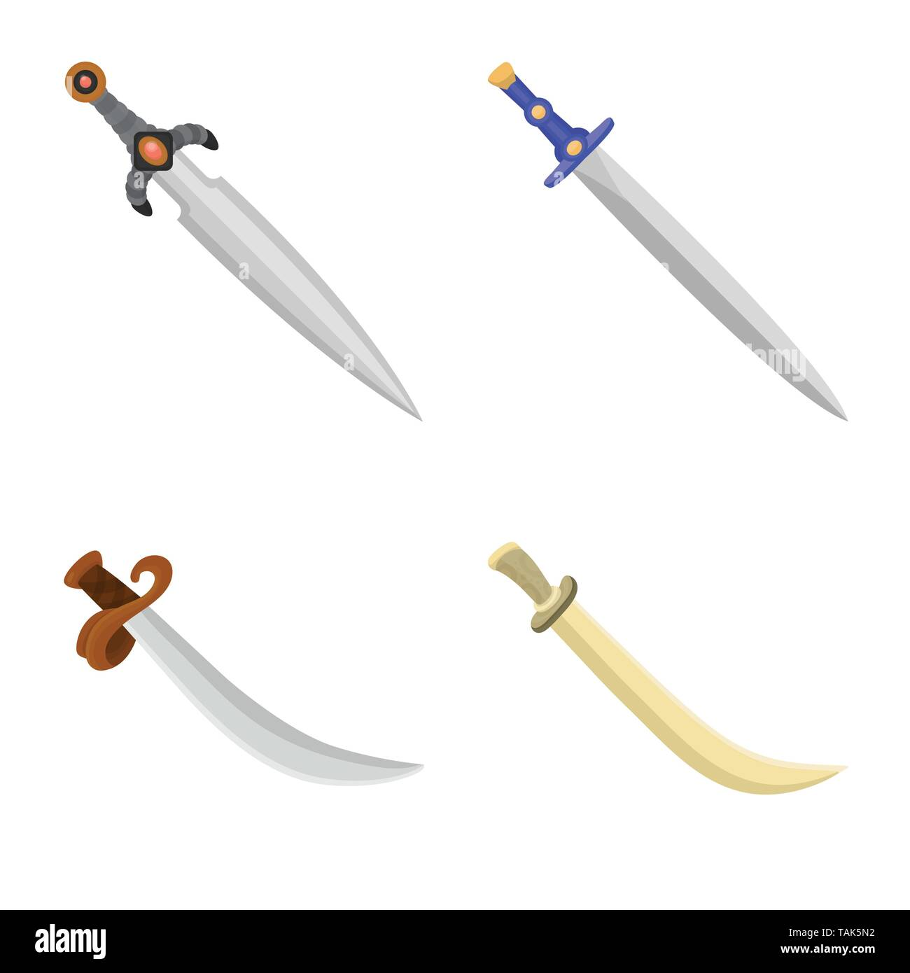 Vector illustration of sword  and dagger  symbol. Set of sword  and weapon vector icon for stock. - Stock Image