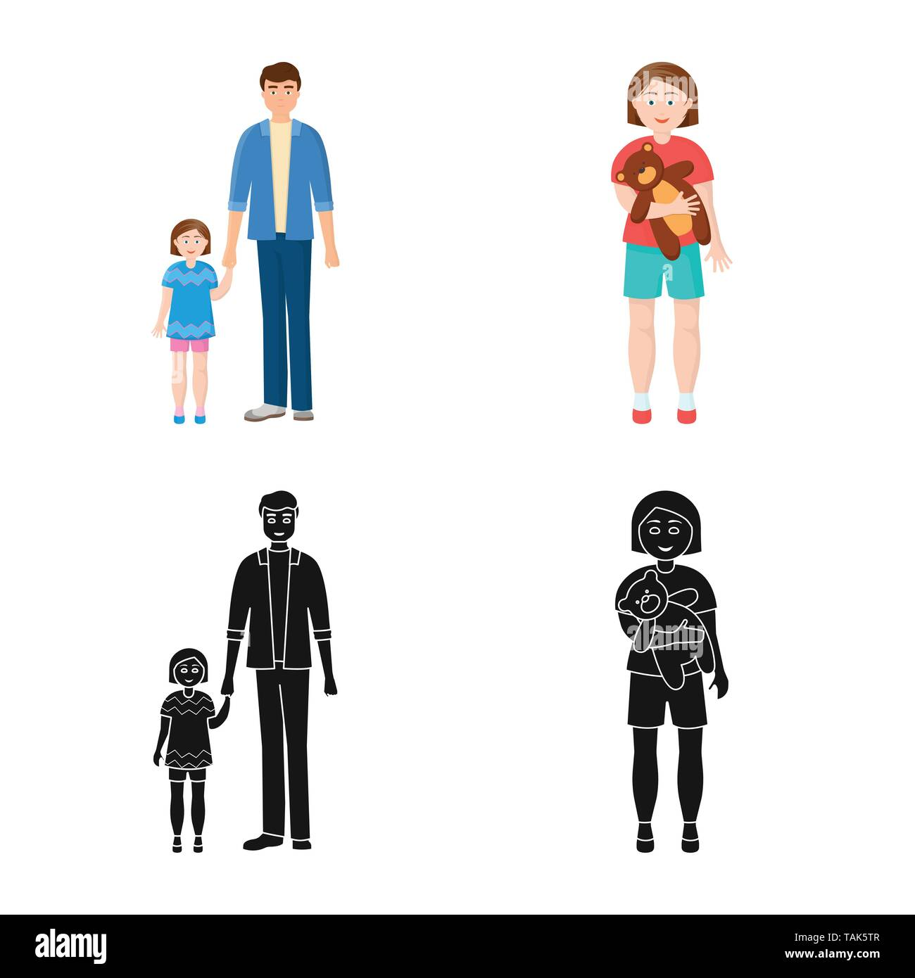 Vector illustration of character and avatar  symbol. Set of character and portrait stock vector illustration. - Stock Image
