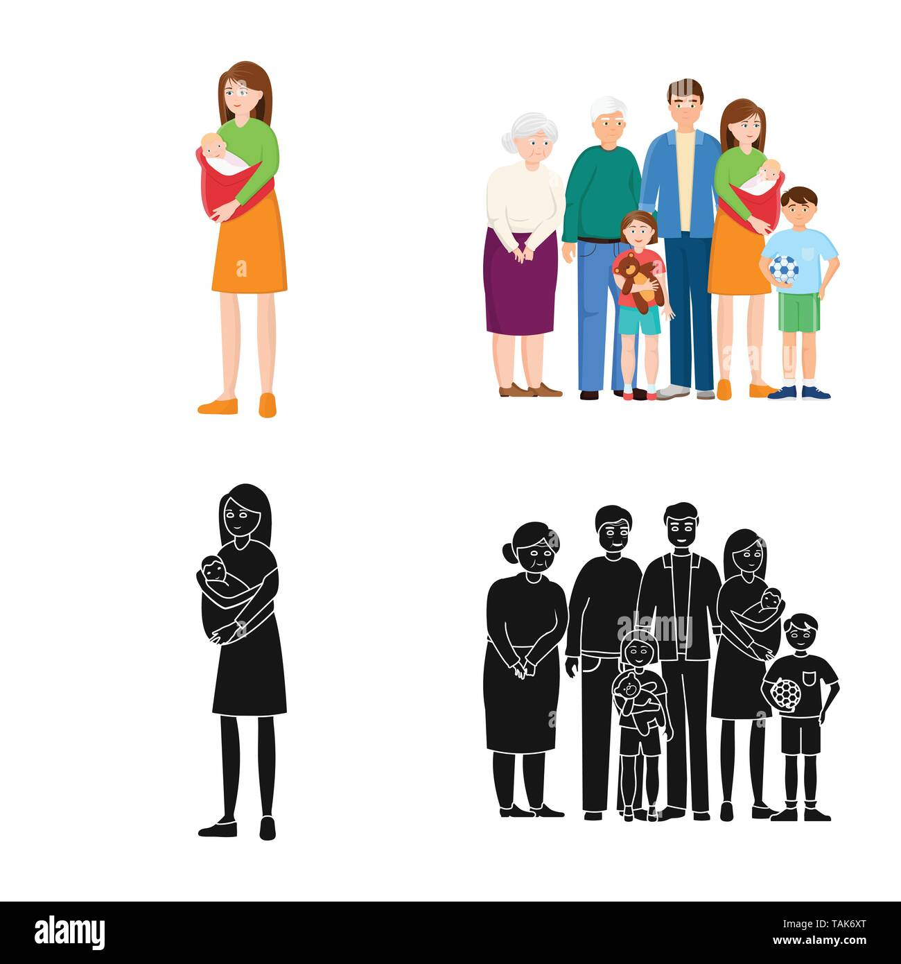 Vector design of character and avatar  sign. Collection of character and portrait stock vector illustration. - Stock Image